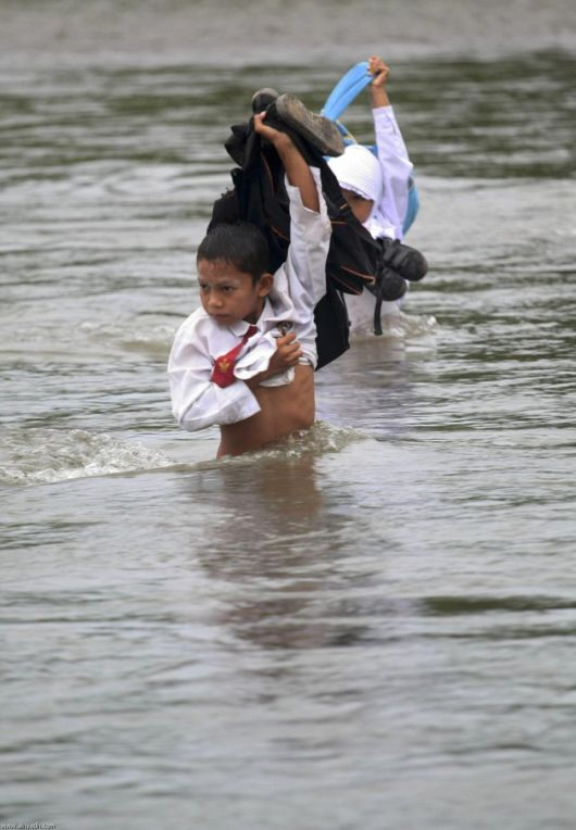 Kids Struggle To Reach School In Indonesia