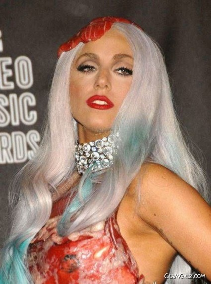 Crazy Lady Gaga in Meat Dress