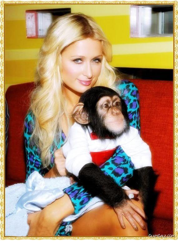 Paris Hilton Kisses a Monkey