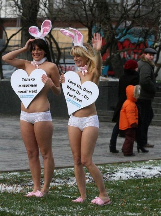 PETA Galz Protesting in Moscow