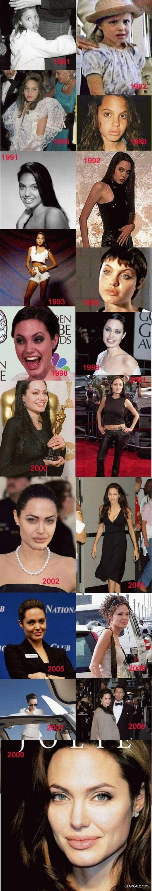 Angelina Jolie - Then and Now