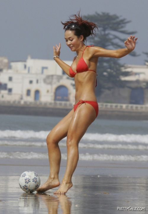 Myleene Klass Plays Beach Football